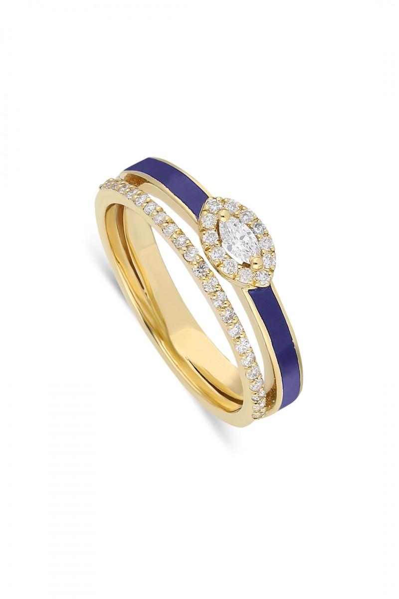 MARQUISE DIAMOND AND  BLUE ENAMEL RING