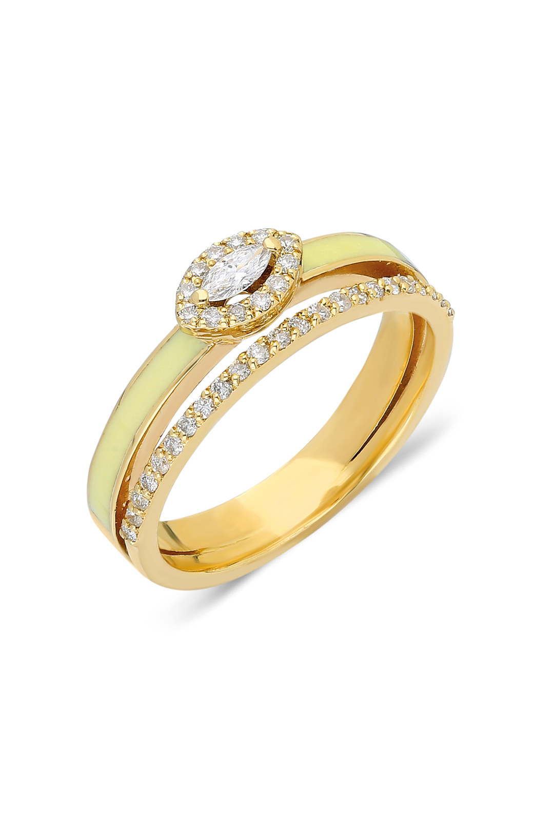 MARQUISE DIAMOND AND  CREAM ENAMEL RING
