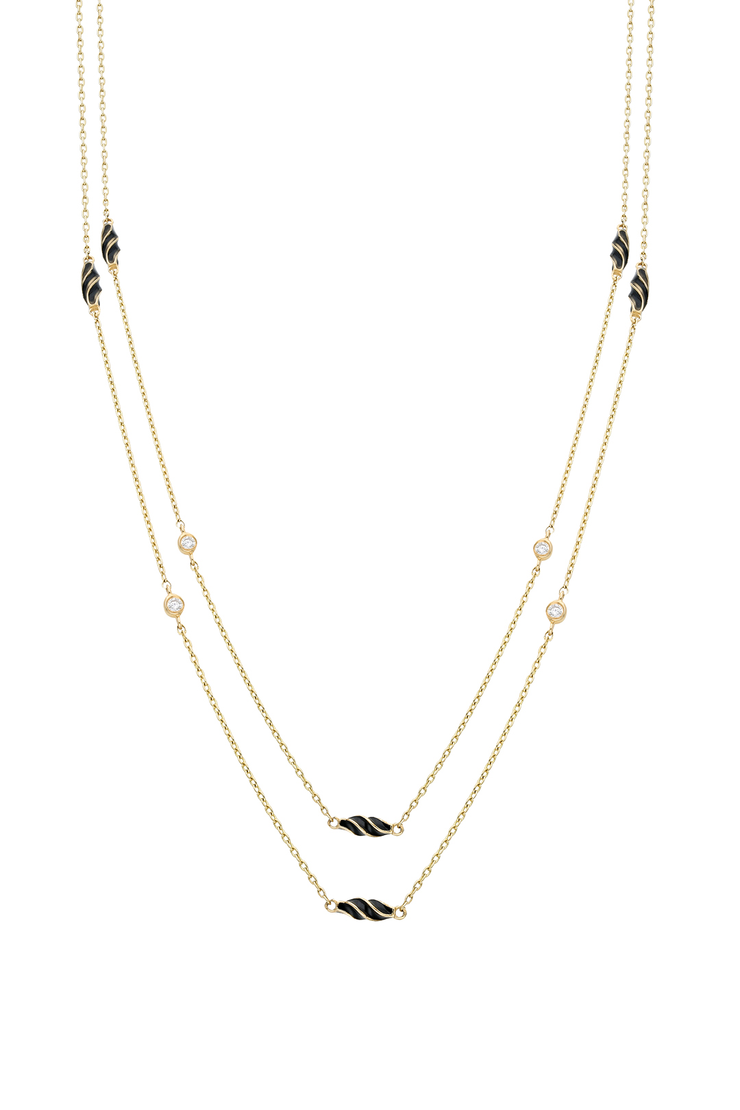 BLACK ENAMEL AND DIAMOND NECKLACE
