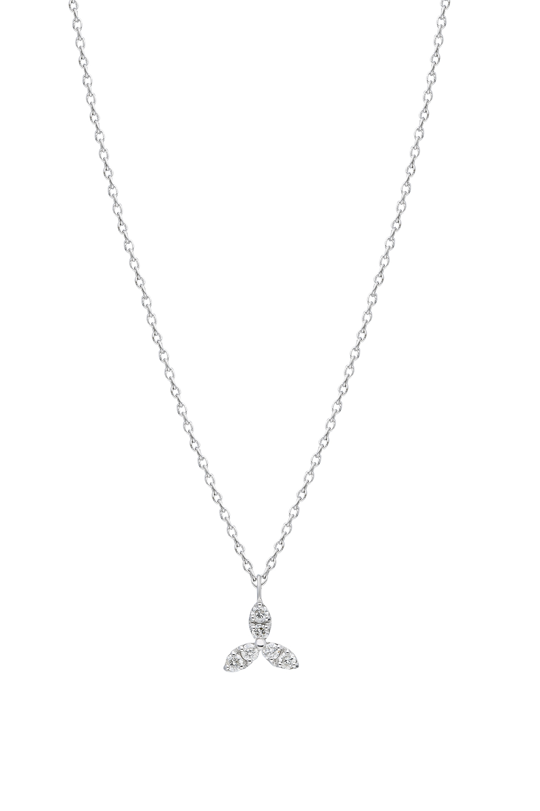 WHITE CLOVER AND DIAMOND NECKLACE