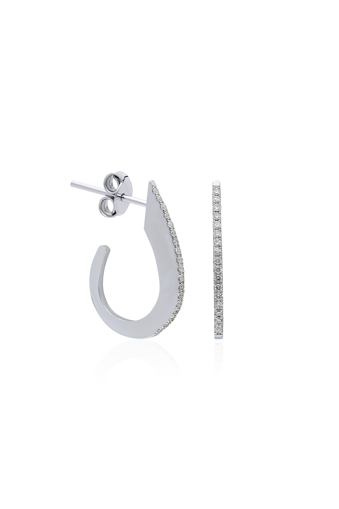 WHITE DIAMOND HOOK EARRING