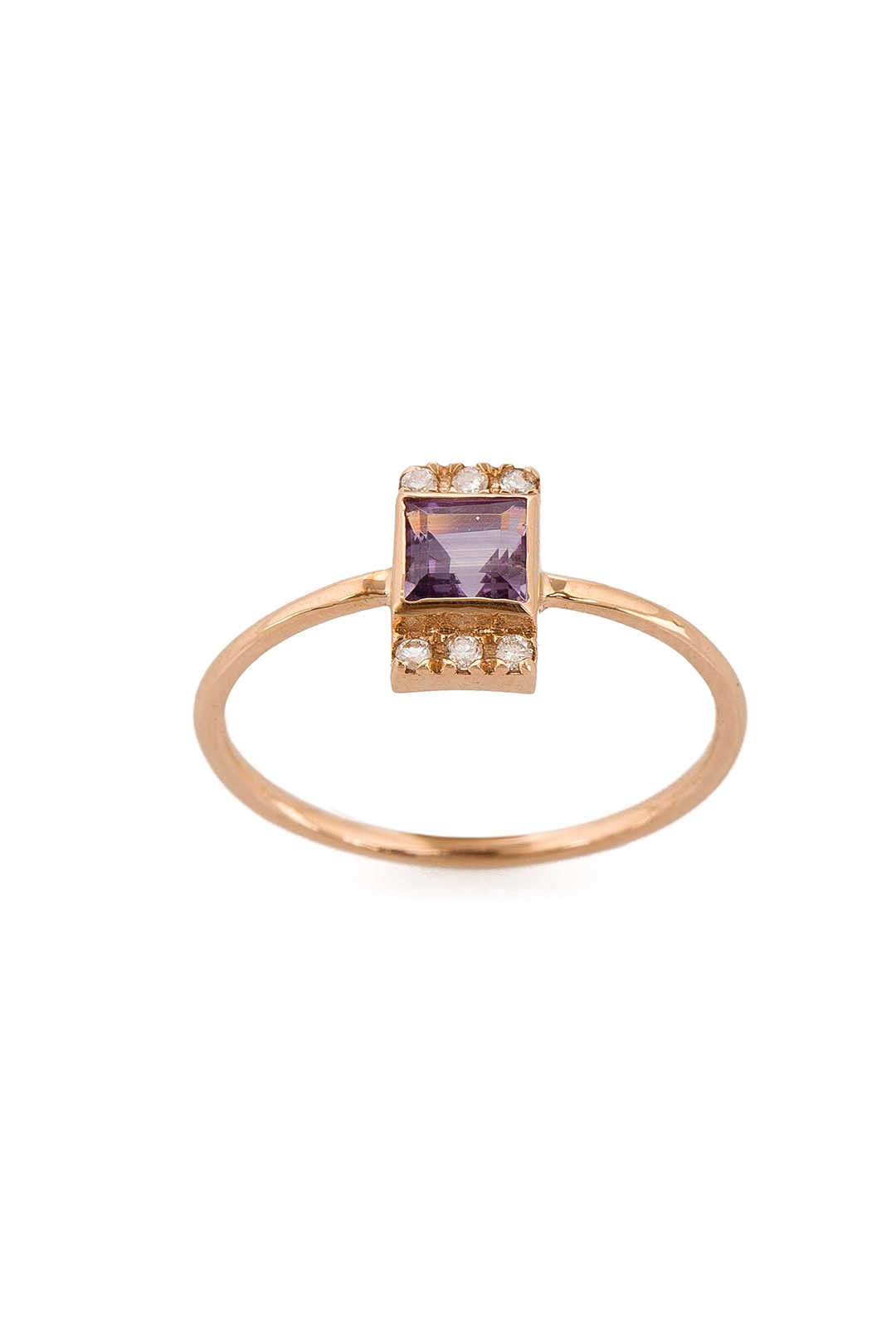 MINI SQUARE AMETHYST AND DIAMOND RING