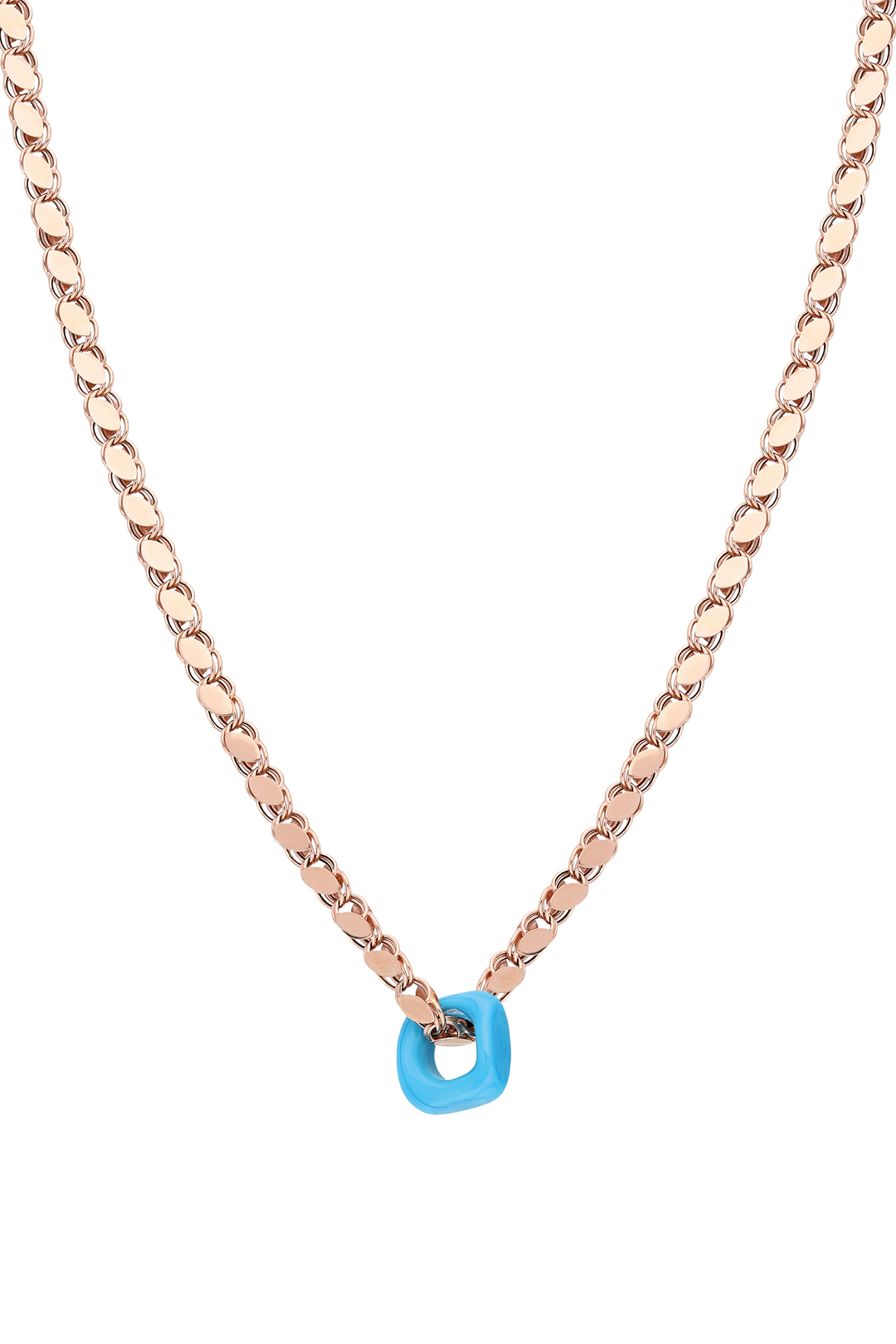 Blue Bead Flake Chain Necklace