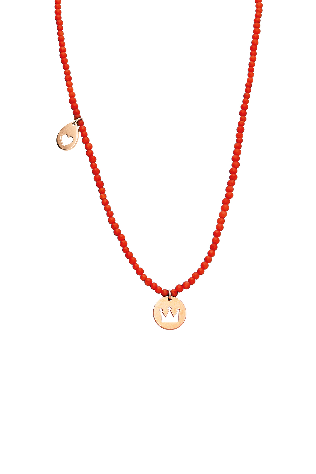 Coral and Gold Charm Necklace