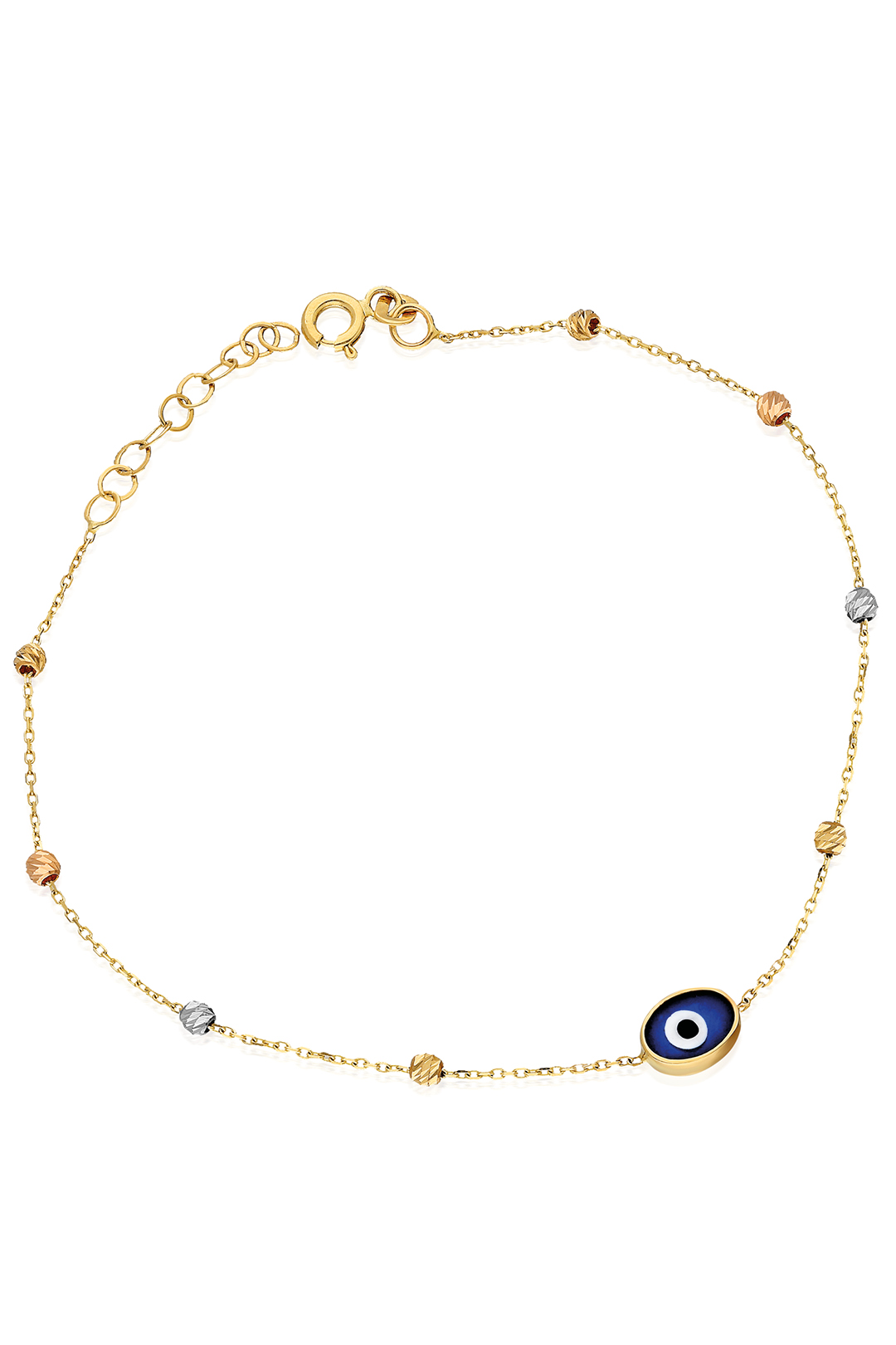 COLOURED BALLS AND EVIL EYE BRACELET