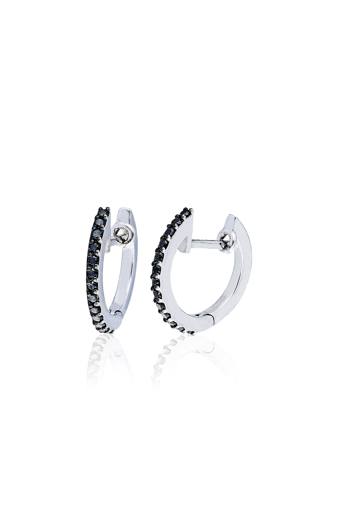 MINI HOOP BLACK DIAMOND EARRING