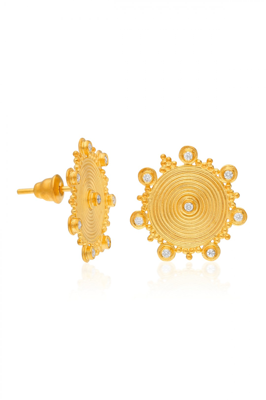 ANCIENT SPIRAL SUN, DIAMOND AND MINI BALLS EARRING