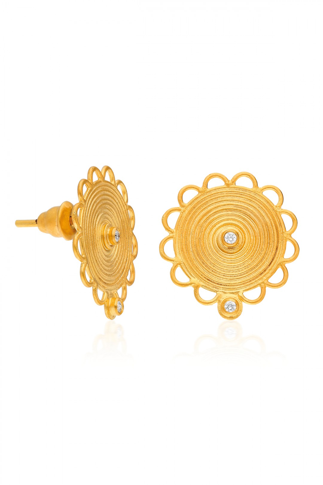 ANCIENT SPIRAL SUN AND DIAMOND EARRING