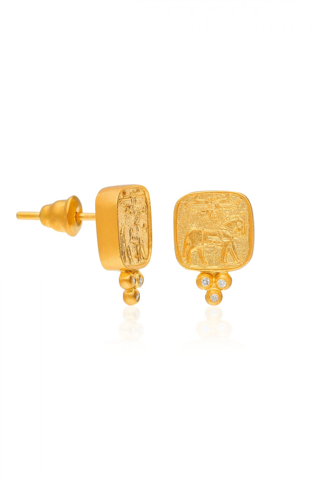 ANCIENT HORSE, WING AND DIAMOND MINI BALLS EARRING
