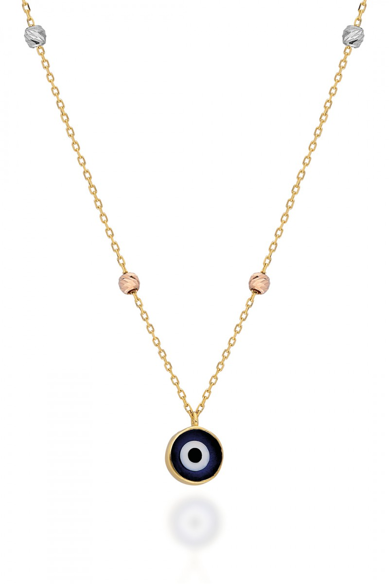 COLORED BALLS AND EVIL EYE NECKLACE