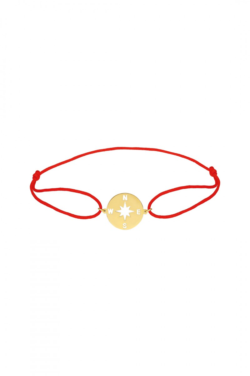 COMPASS BRACELET WITH RED KNOT