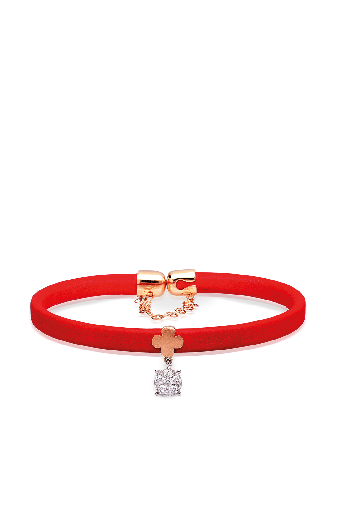 RED LEATHER GOLD AND DIAMOND BRACELET