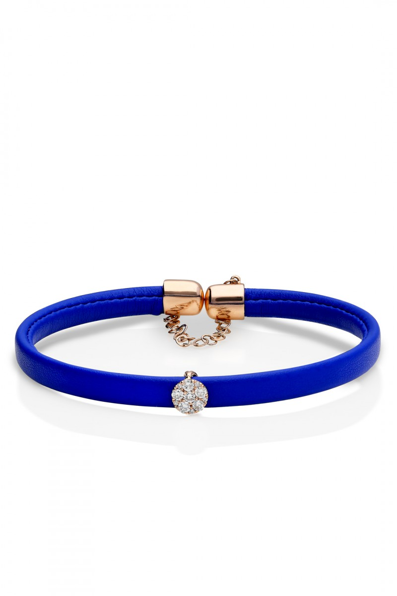 BLUE LEATHER, GOLD AND DIAMOND BRACELET