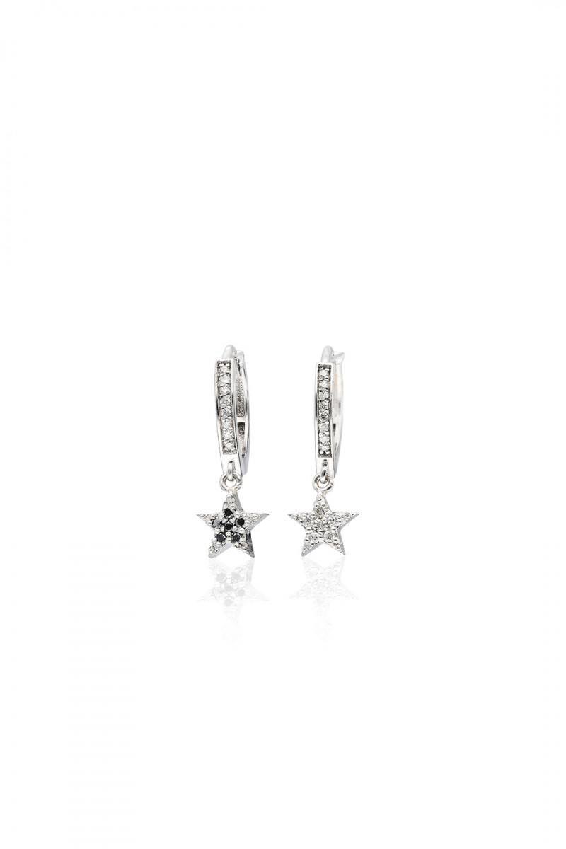 MINI BLACK AND WHITE DIAMOND STARS EARRING
