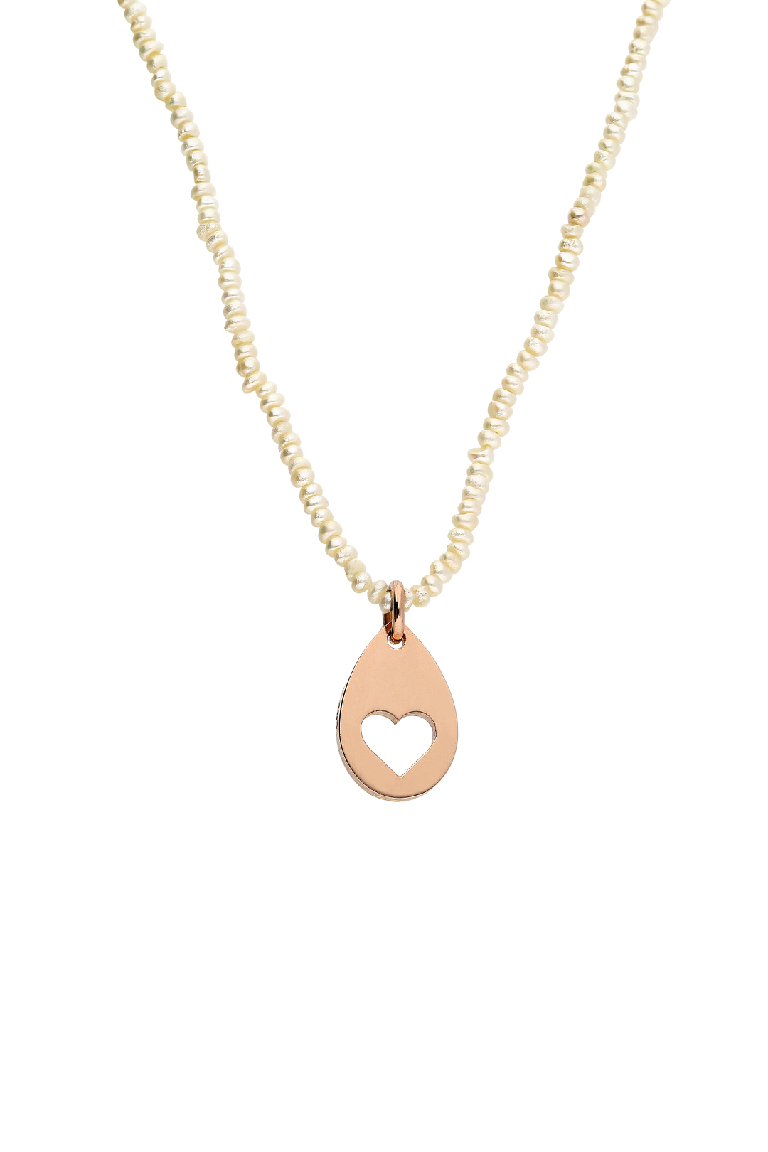 Pearl and Gold Heart Charm Necklace