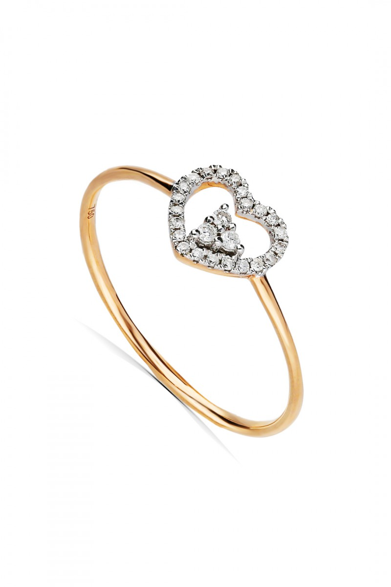 HEART AND TRIANGLE RING