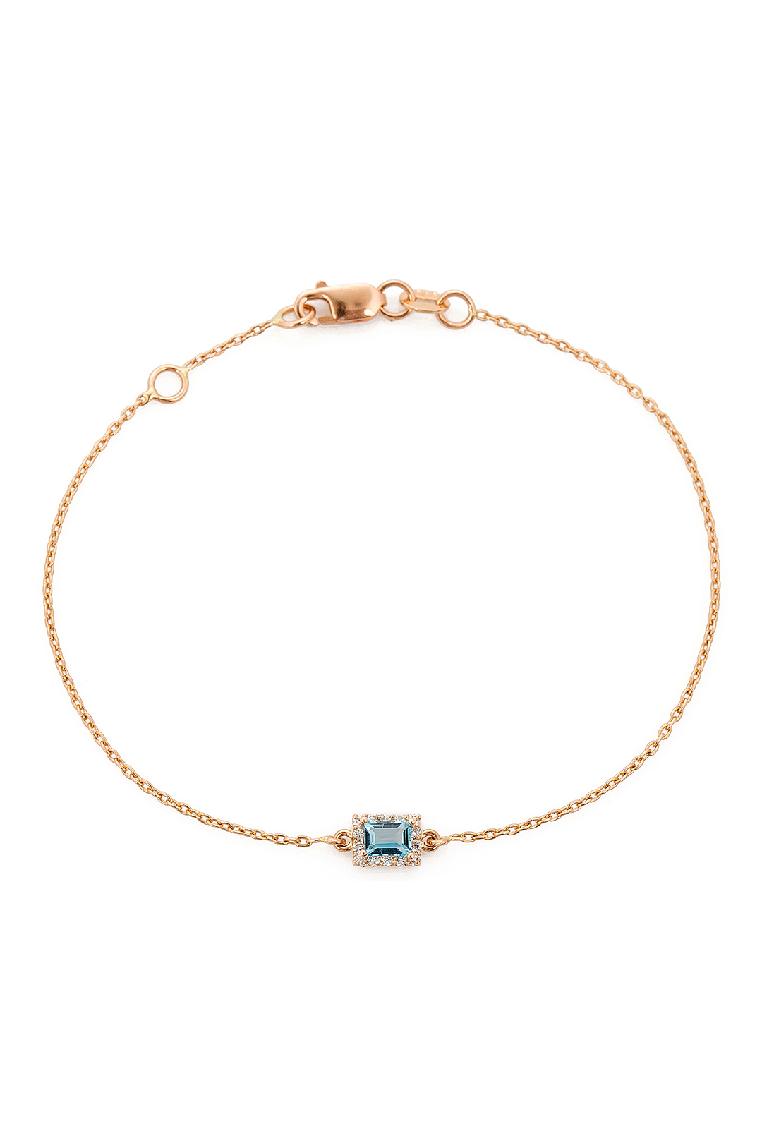 RECTANGLE AQUAMARINE AND DIAMOND BRACELET