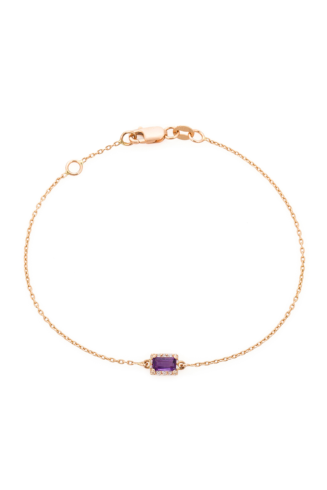 RECTANGLE AMETHYST AND DIAMOND BRACELET