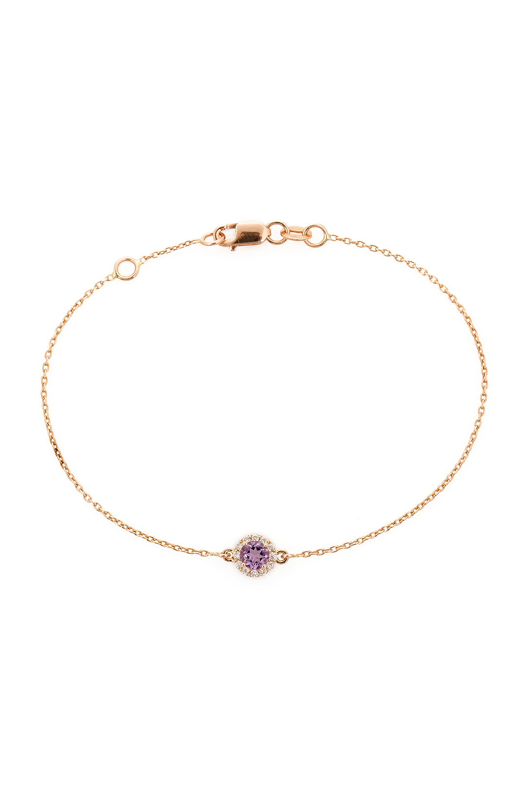 ROUND AMETHYST AND DIAMOND BRACELET
