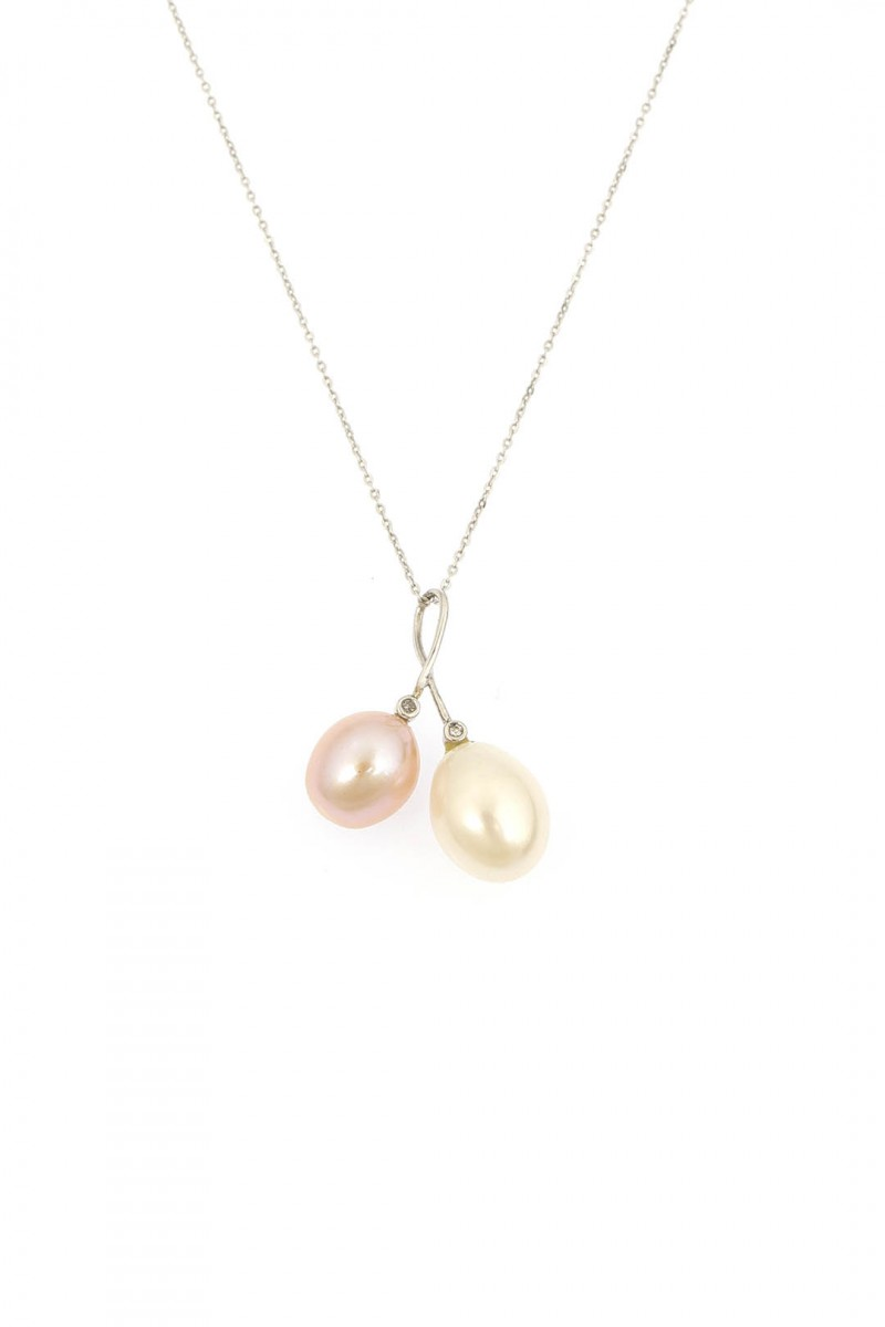 TWIN PEARLS LOVE NECKLACE