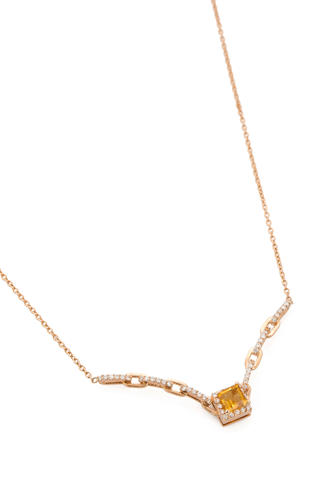 CITRIN AND DIAMOND NECKLACE