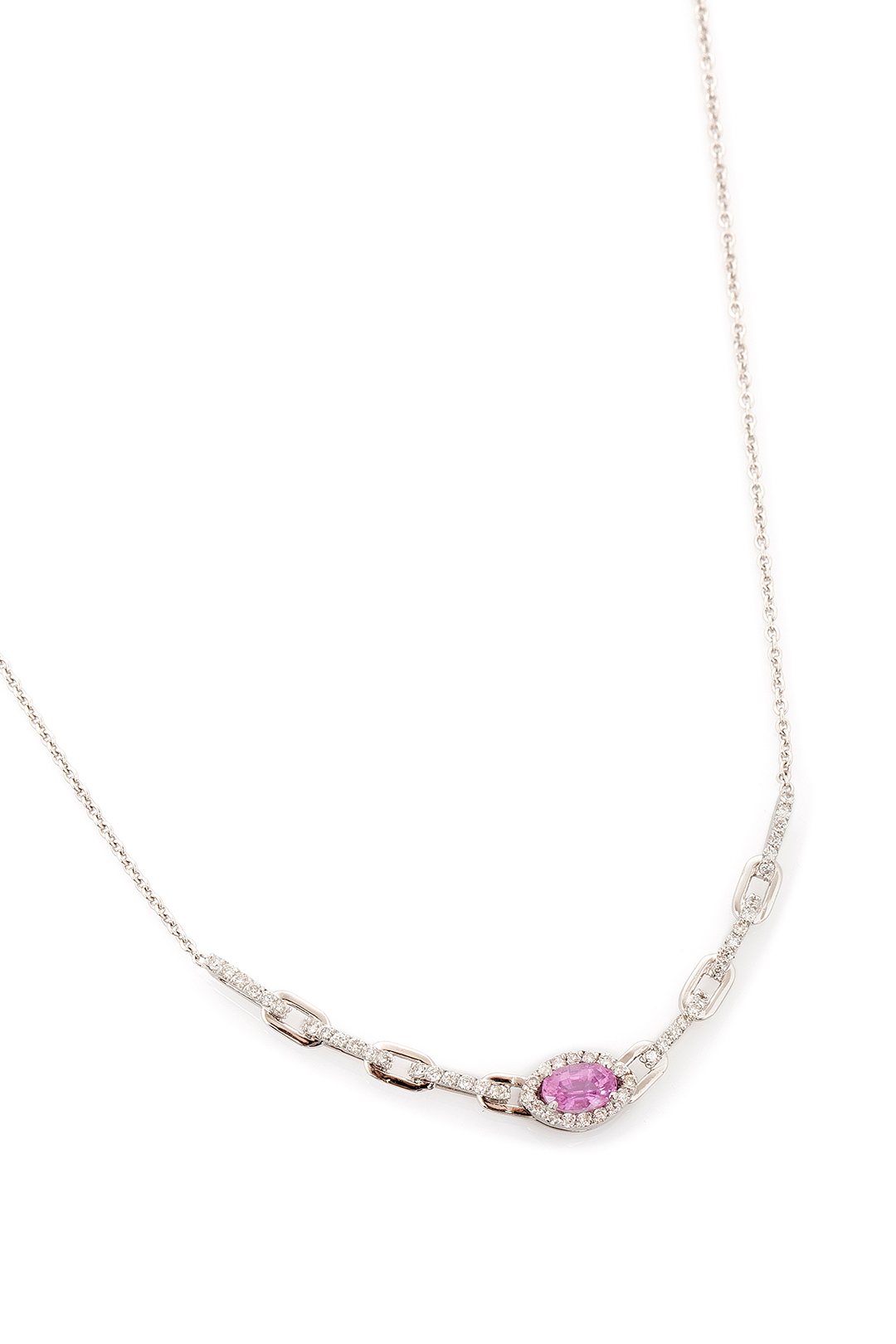 PINK TOPAZ AND DIAMOND NECKLACE