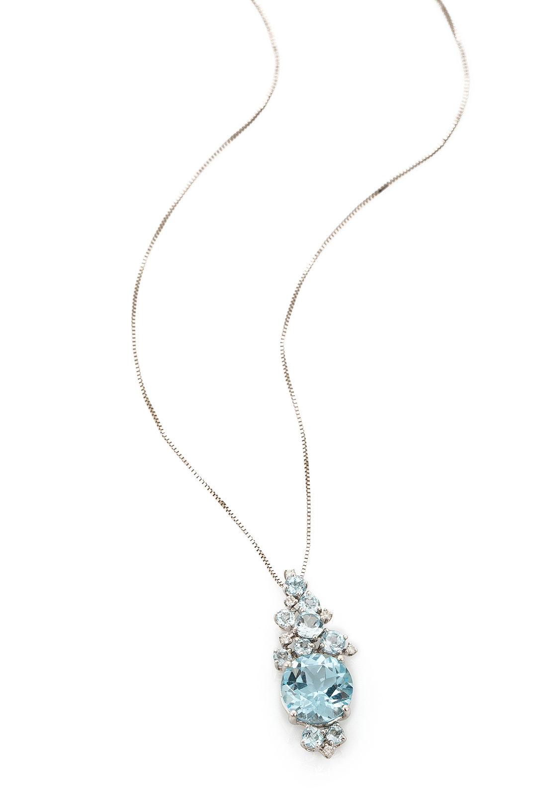 BLUE TOPAZ LOVE AND DIAMOND NECKLACE