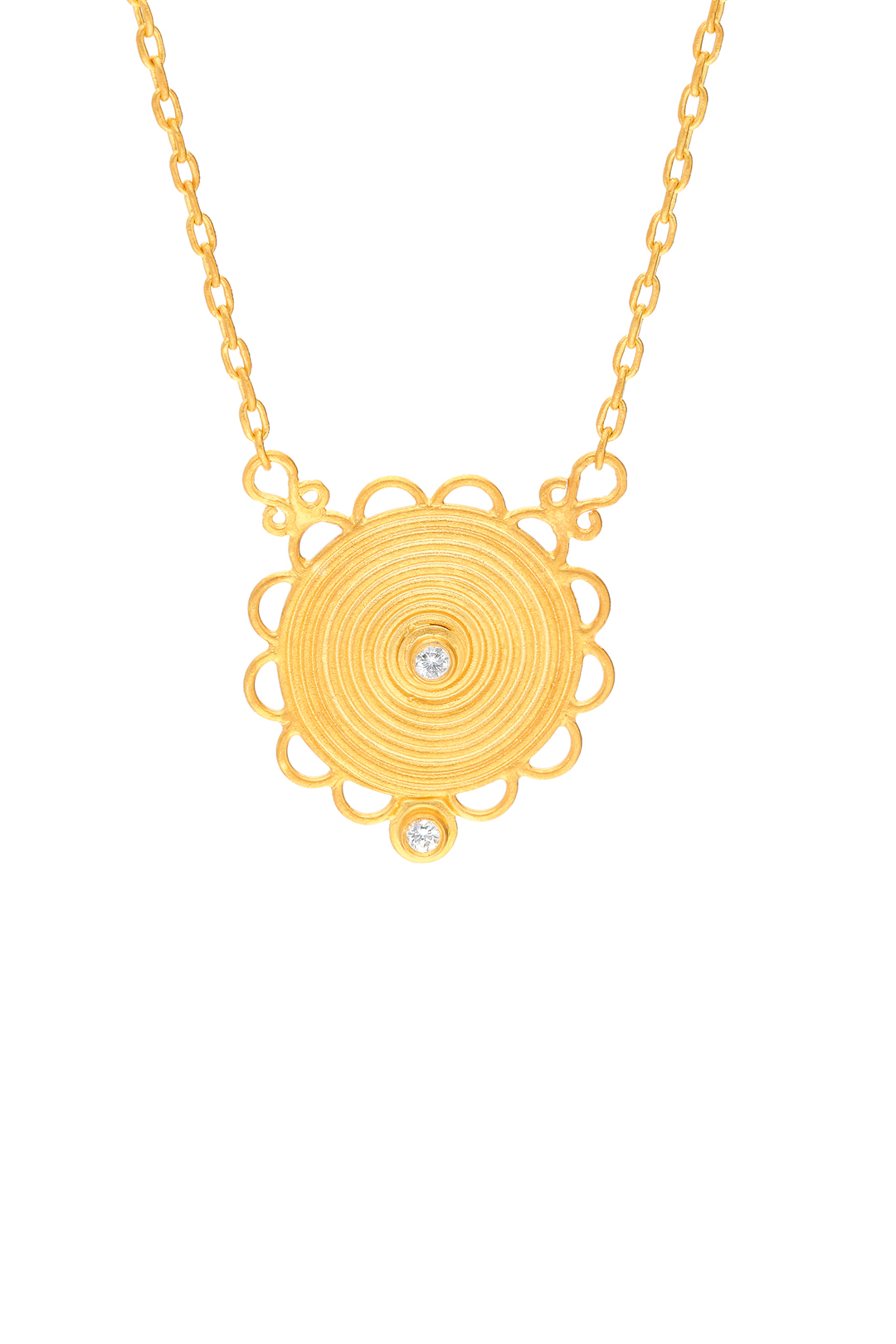 ANCIENT SPIRAL, SUN AND DIAMOND NECKLACE
