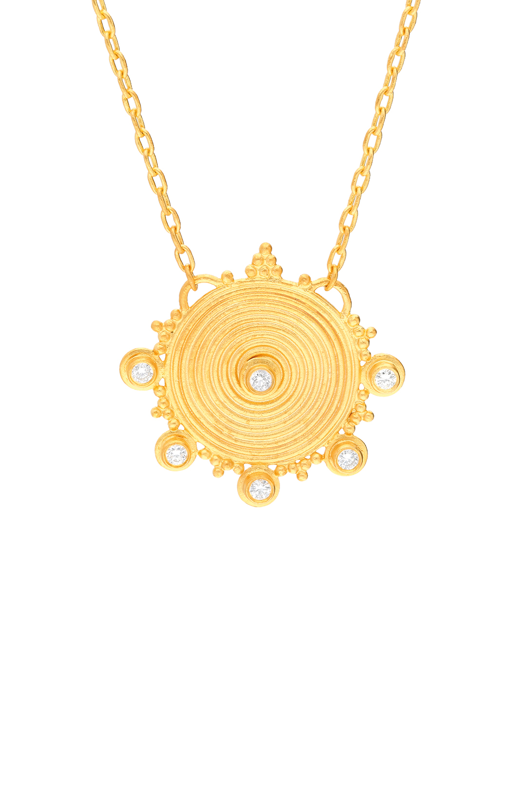 ANCIENT SPIRAL SUN, DIAMOND AND MINI BALLS NECKLACE