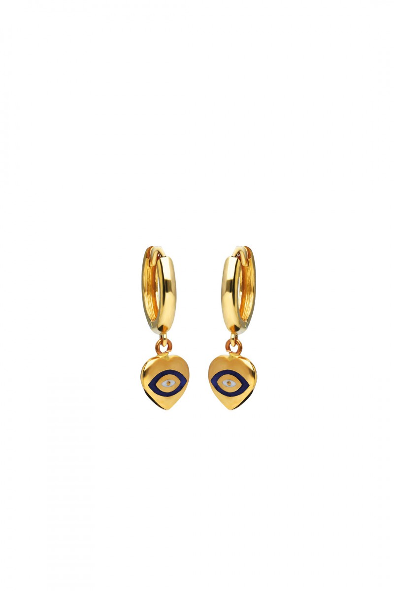 EARDROP EVIL EYE HEART EARRING