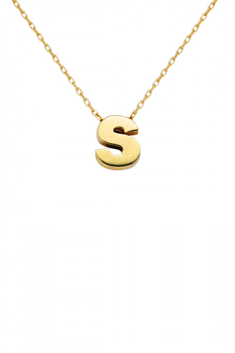 THREE DIMENSIONAL S LETTER NECKLACE