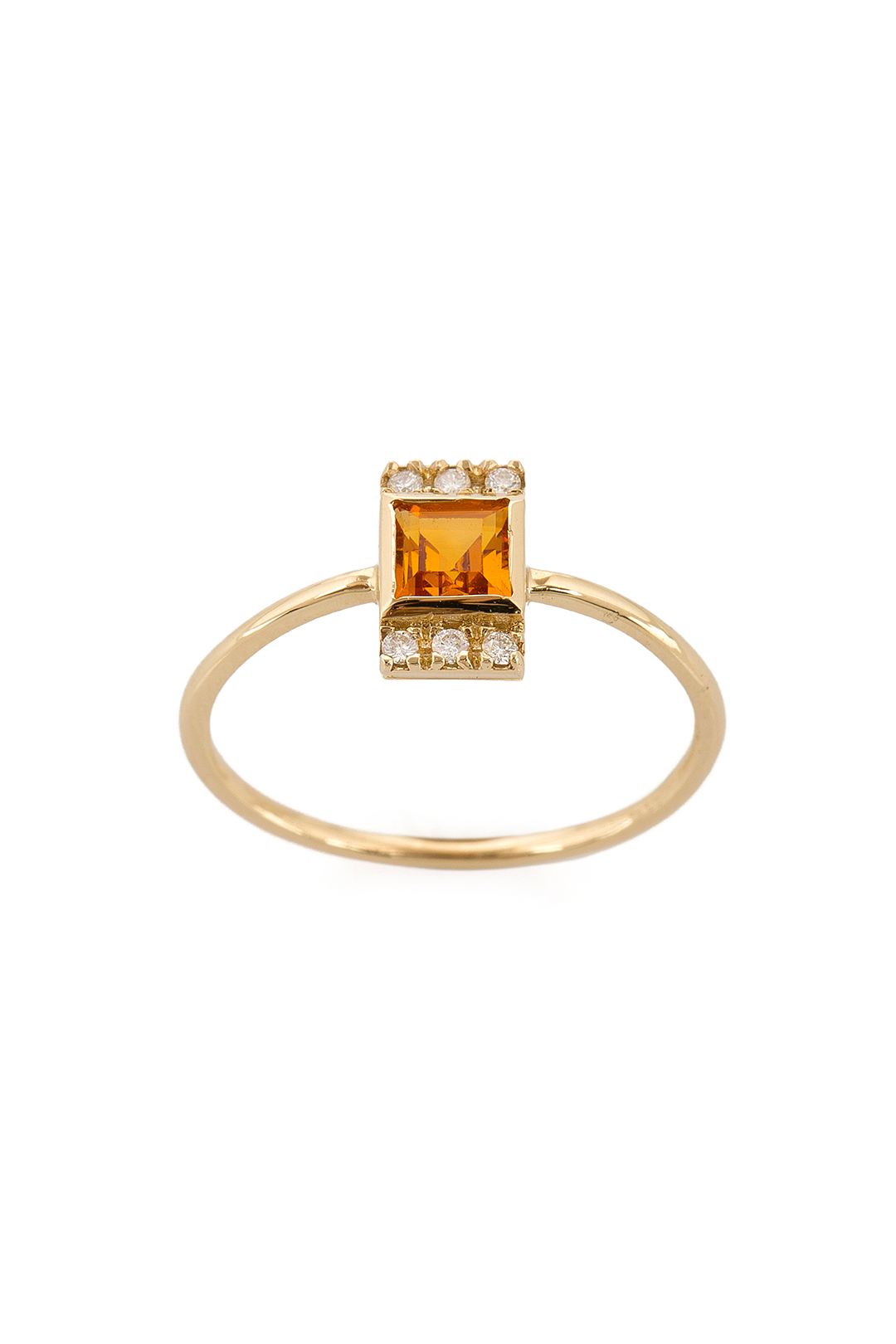 MINI SQUARE CITRIN AND DIAMOND RING